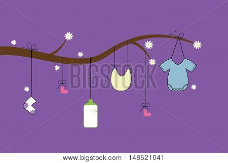 Purple Baby Clothes Line with Bottle and Clothes