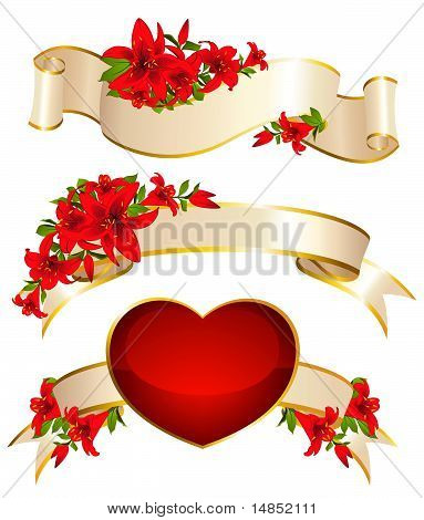 Background with flowers and ribbons