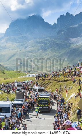 Col du Glandon France - 23 July 2015: Specific vehicles which end each stage during Tour de France driving on the road to Col du Glandon in Alps during the stage 18 of Le Tour de France 2015.