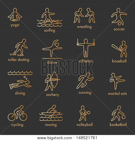 Gold vector icons of sportsmen on white background. Set of linear figures of athletes of water and summer sports. Line figure athletes popular sports. Set of vector athletes.