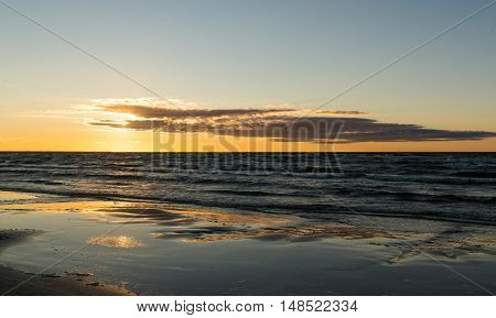 Colorful Sunset at the beach, Jurmala, Latvia, Baltic sea