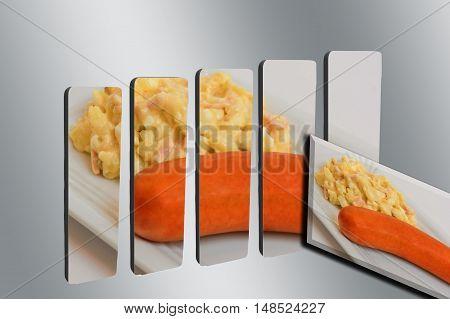 3D bar graph with photo of homemade potato salad with sausage.