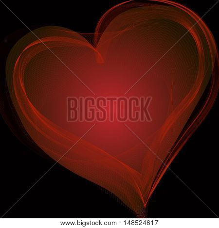 big, red heart on a black background