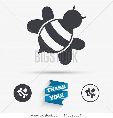 Bee sign icon. Honeybee or apis with wings symbol. Flying insect diagonal. Flat icons. Buttons with icons. Thank you ribbon. Vector