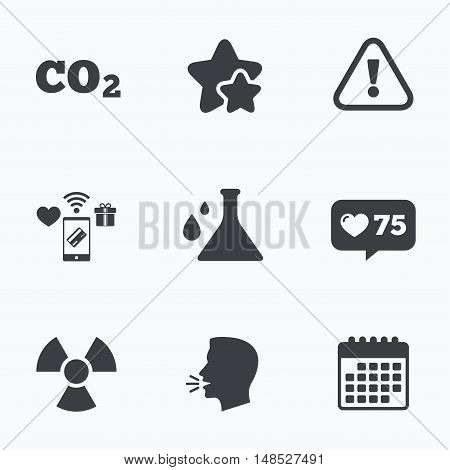 Attention and radiation icons. Chemistry flask sign. CO2 carbon dioxide symbol. Flat talking head, calendar icons. Stars, like counter icons. Vector