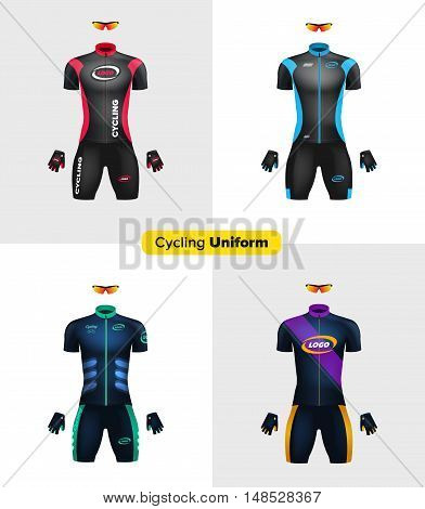 Realistic vector cycling uniforms. Branding mockup. Bike or Bicycle clothing and equipment. Special kit: short sleeve jersey, gloves and sunglasses. Front view.