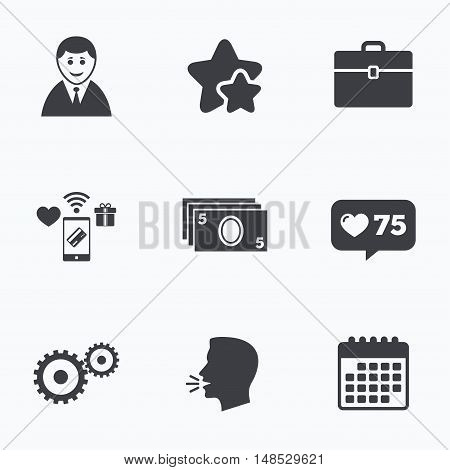 Businessman icons. Human silhouette and cash money signs. Case and gear symbols. Flat talking head, calendar icons. Stars, like counter icons. Vector
