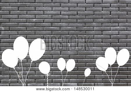 Black Bricks With Balloons