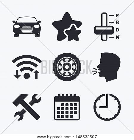 Transport icons. Car tachometer and automatic transmission symbols. Repair service tool with wheel sign. Wifi internet, favorite stars, calendar and clock. Talking head. Vector
