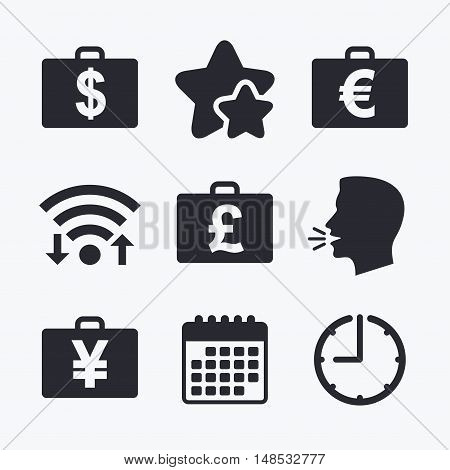 Businessman case icons. Cash money diplomat signs. Dollar, euro and pound symbols. Wifi internet, favorite stars, calendar and clock. Talking head. Vector