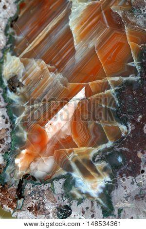 Red Agate stone close up. Agate stone are also used in alternative medicine