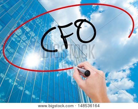 Man Hand Writing Cfo (chief Financial Officer) With Black Marker On Visual Screen