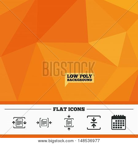 Triangular low poly orange background. Archive file icons. Compressed zipped document signs. Data compression symbols. Calendar flat icon. Vector