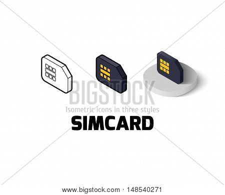 Simcard icon, vector symbol in flat, outline and isometric style