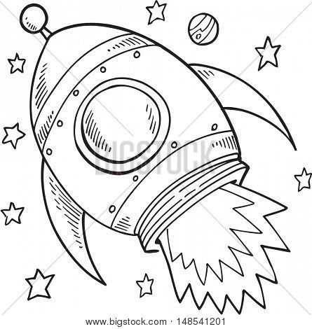 Doodle Rocket Vector Illustration Art