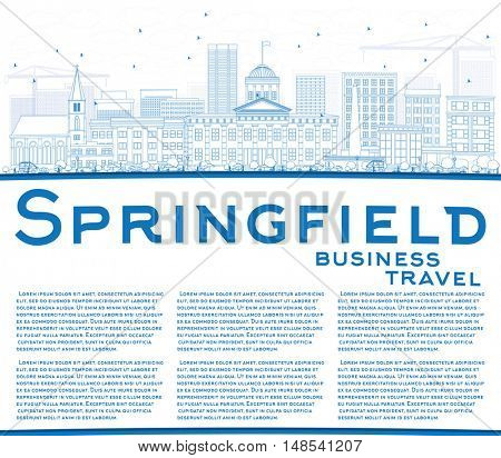 Outline Springfield Skyline with Blue Buildings and Copy Space. Vector Illustration. Business Travel and Tourism Concept with. Image for Presentation Banner Placard and Web Site.