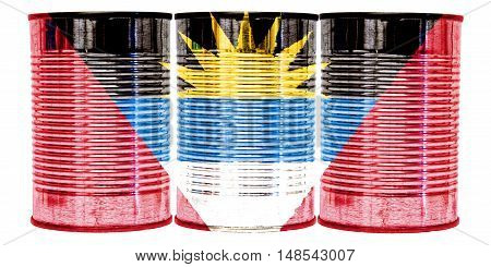 Three tin cans with the flag of Antigua and Barbuda on them isolated on a white background.