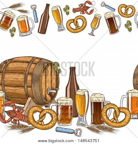 Seamless horizontal borders of colorful beer icons on a white background. Vector stock illustration.