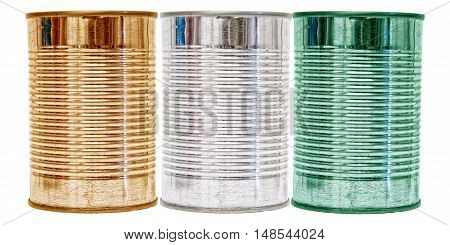 Three tin cans with the flag of Cote d'Ivoire on them isolated on a white background.