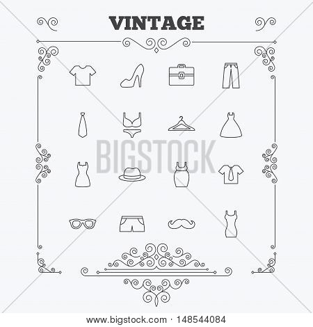 Clothes and accessories icons. Shirt with tie, pants and woman dress symbols. Hat, hanger and glasses thin outline signs. Underwear and maternity clothes. Vintage ornament patterns. Decoration design elements. Vector