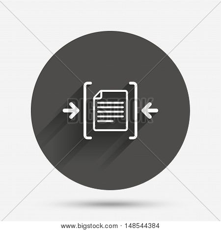 Archive file sign icon. Compressed zipped file symbol. Arrows. Circle flat button with shadow. Vector