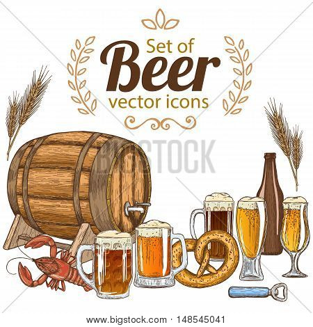 Set of beer icons. Vector stock illustration.