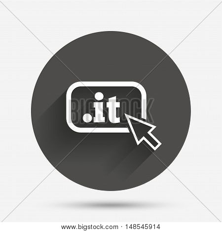 Domain IT sign icon. Top-level internet domain symbol with cursor pointer. Circle flat button with shadow. Vector