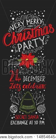 Vector christmas party invitation. Holiday background and design banner. Happy New Year flyer with hand-drawn xmas graphic.