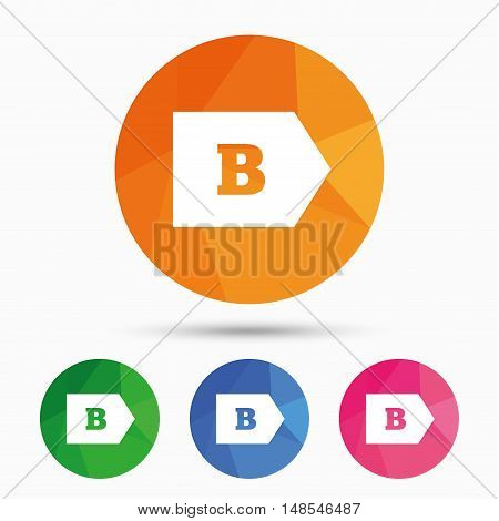 Energy efficiency class B sign icon. Energy consumption symbol. Triangular low poly button with flat icon. Vector