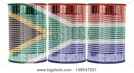 Three tin cans with the flag of South Africa on them isolated on a white background.