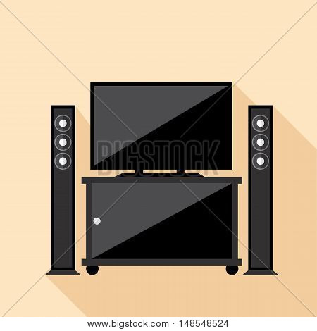 Digital vector hi-fi audio system with monitors and tv set with furniture, flat style