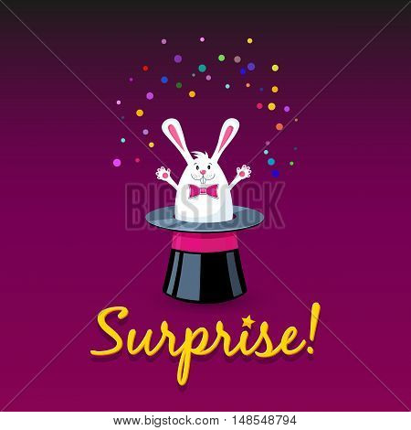 Surprise! Vector cartoon banner with white bunny and magic hat.