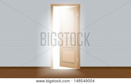 Magic bright Sun Light in a room through the open door. Door is flat color style design.