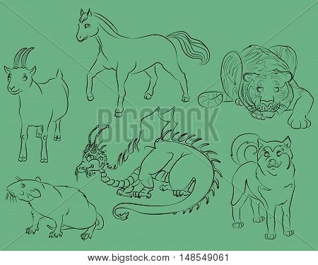 dragon rat goat tiger horse and dog. For your convenience each significant element is in a separate layer. eps10