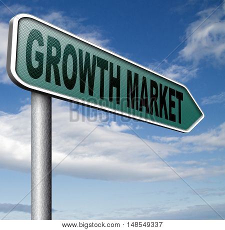 growth market economy growing emerging economies in developing countries 3D, illustration