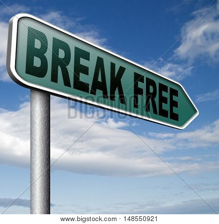 break free from prison pressure or quit job running away towards stress free world no rules 3D, illustration