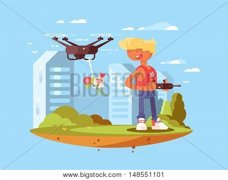 Delivery using quadrocopters. Man controlled flying drones. Vector flat illustration