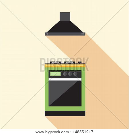 Digital vector picture green and orange kitchen hob set with ventilation, flat style