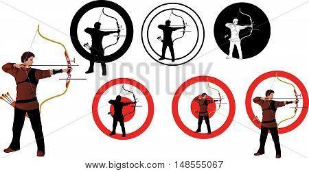 vector Figure-athlete - shooter of modern archery options