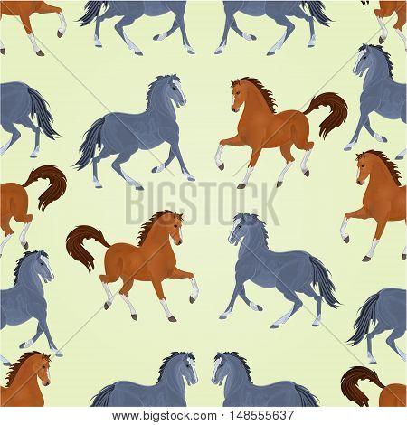 Seamless texture black and auburn horses stallions vector illustration