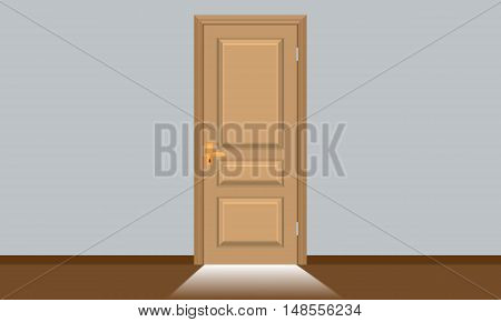 Closed door with direct bright sun light coming from outside in the bottom of door. Boss is coming concept