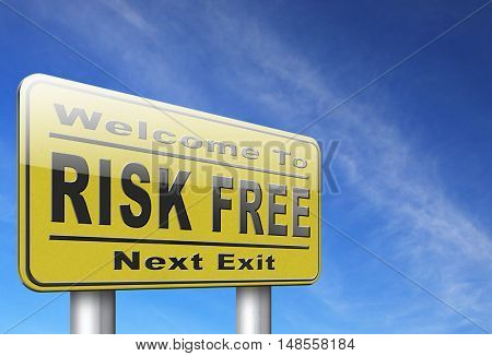 risk free satisfaction high product quality guaranteed safe investment web shop warranty no risks and safety first billboard sign 3D, illustration