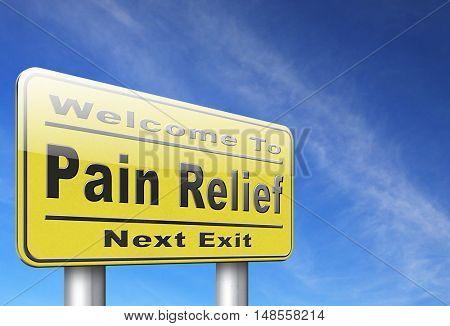 Pain relief or management by painkiller or other treatment of chronic back pain, road sign billboard. 3D, illustration