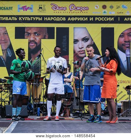 St. Petersburg, Russia - 13 August, The group of players on the scene,13 August, 2016. Performance of the ball virtuosos on Krestovsky Island in St. Petersburg.
