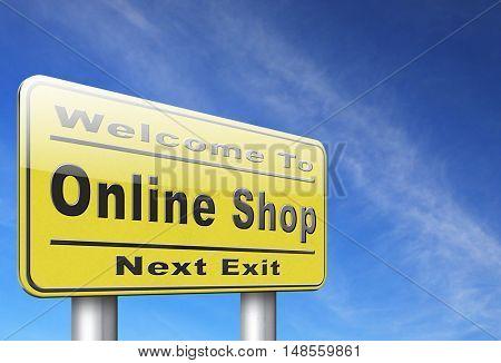 Online shopping internet web shop webshop, road sign billboard. 3D, illustration