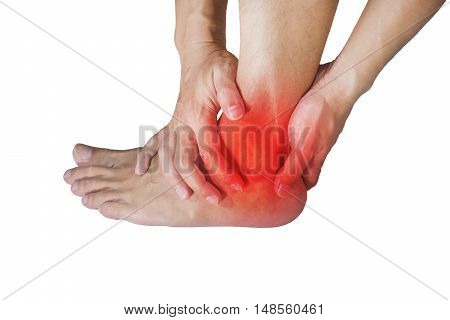 ankle pain in men. Pain concept add clipping path