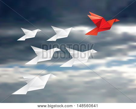vector illustration with origami paper birds in clouds, red leader bird