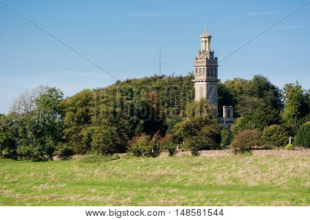 Beckford's Tower in countryside near Bath, Somerset, UK. Neo-classical style architectural folly on Lansdown Hill overlooking the UNESCO World Heritage City of Bath