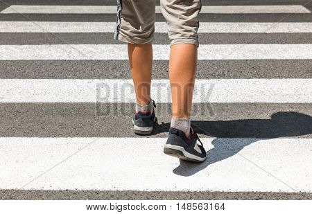 Crosswalk. Pedestrian on road. Overhead safe passage