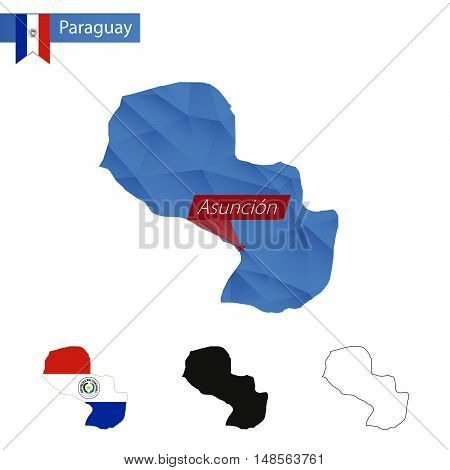 Paraguay Blue Low Poly Map With Capital Asuncion.